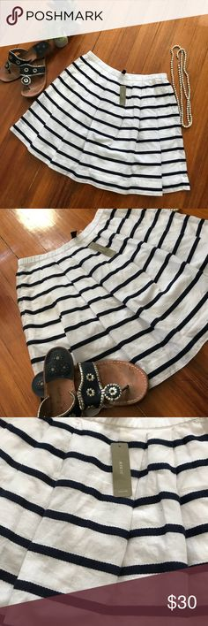 J.Crew striped skirt J.Crew striped skirt. NWT, navy and white striped skirt, beautiful and flowy. Make me an offer ☺️!!!!! J. Crew Skirts