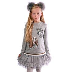 Grå 2-delt strik og kjole sæt med Lady og Vagabonden