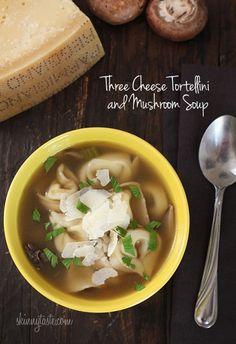 Three Cheese Tortellini and Mushroom Soup #vegetarian #soup