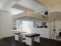 PERL : Lit escamotable au plafond prestige blanc 1,60 m - Habitat Germinal - Lit prestige escamotable au plafond, Voga