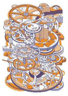 Print Club London – Watch Mechanism (orange)