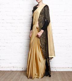 Golden & Black Georgette & Velvet Jacket Saree With Zari Work #indianroots #ethnicwear #eveningwear #partywear #saree #georgette #velvet #zariwork #jacket #weddingwear
