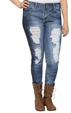 Plus Size Reign Skinny Jean with Destruction and Dark Tie Dye on Side
