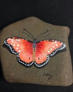 Hand painted Butterfly stone