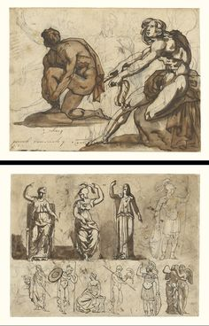 """""""Classical Nudes (recto); Classical Statuary (verso),"""" Théodore Géricault, about 1814 - 1815. Graphite, pen and brown ink, and brown wash. 