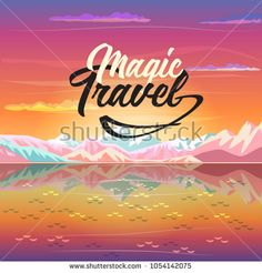 Modern Art New collection 2018. Magic Travel concept design.   Summer sunset painting poster on the theme of Tropical sea beach landscape, mountains, blue sky, airplane, Adventure, Traveling, Voyage, Camping, outdoor recreation, adventures in nature illustration Vector Art. Sunrise cartoon. BON VOYAGE! concept design