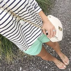 @janet.lowe |IG| Navy stripes and mint, JCrew shorts, Old Navy, Tory Burch Millers. Click on pic to shop this look (www.liketk.it/1Gifl) #liketkit