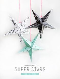 GORGEOUS DIY STARS ---- by Alix Sorrell I recently returned from a trip to India where beautiful paper stars (leftover.Printable Mini Super Stars - Oh Happy DayCelebrate Under the Stars With These 20 Celestial Holiday Decorations via Brit + CoStar li Diy Paper, Paper Crafts, Christmas Crafts, Christmas Decorations, Xmas, Christmas Star, Holiday Tree, Winter Holiday, Papier Diy