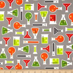 Science Fair Test Tubes Grey from @fabricdotcom  Designed by Rani Child for Robert Kaufman, this cotton print fabric is perfect for quilting, apparel and home decor accents. Colors include green, orange, white and grey.