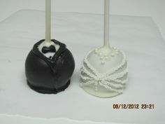 Tuxedo & Evening Gown (can pass as Bride & Groom too) Cake Pops