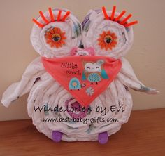 Diaper owl -  make this creative and absolutely cute homemade baby gift without having experience.