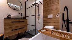 Mala lazienka, czarno biala z dodatkami drewna, wanna i prysznic Home Design Plans, Small Bathroom, Bathrooms, Double Vanity, Sweet Home, Bathtub, House Design, Living Room, Interior