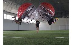 Knockerball, a new entertainment option available in Jefferson City, allows players to participate in a high-contact game cushioned by the inflatable plastic bubble surrounding them. | News Tribune