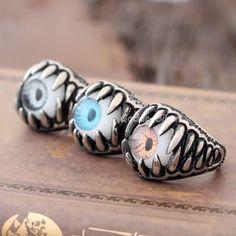 Men's Silver Monster Evil Eye Skull Teeth 316L Stainless Steel Biker Rocker Ring | eBay