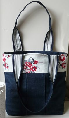 Denim  Handbag Tote bag with red flowered panel, crafting idea, Inspiration