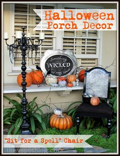 I am loving how my outdoor Halloween decor is coming together. I was able to use several items from previous Halloweens, but this year I re-did a thrift shop chair and I'm calling it my &#82…