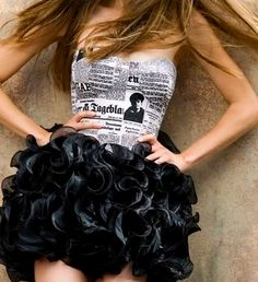 front page fashionista! This would b cute in a t shirt. Wonder how u could get newsprint on a shirt???