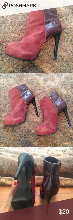 Baker Burgundy Suede Heeled Boots GORGEOUS burgundy boots with color/material blocking that adds so much character. Very lightly worn and amazing condition. Baker by Ted Baker Shoes Heeled Boots