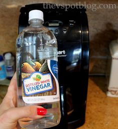 Cleaning your coffee maker with vinegar. The V Spot: Vinegar makes my coffee taste better. (For reals.)