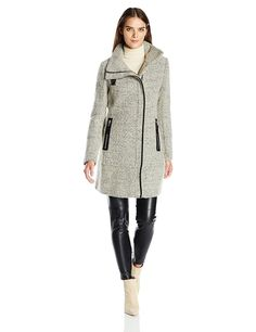 Amazon.com: Calvin Klein Women's Wool Coat with Pu Trim and Stand Collar Asymmetric Zipper: Clothing