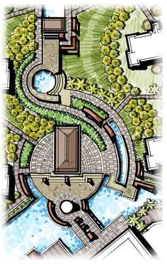 Garden In Pots Pavilion Landscape Gate Central Landscape Curving Landscape Pavers.Garden In Pots Pavilion Landscape Gate Central Landscape Curving Landscape Pavers Landscape Architecture Drawing, Landscape Sketch, Landscape Design Plans, Pavilion Architecture, Landscape Drawings, Architecture Plan, Urban Landscape, Landscape Architects, Classical Architecture