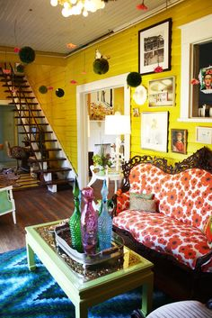 bright yellow room with colorful patterns