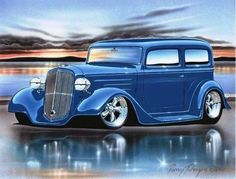 1934 Chevy 2 Door Sedan Streetrod Car Art Print 11x14 34