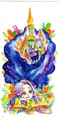 Reading book watercolour art by MARSOSE on @creativemarket
