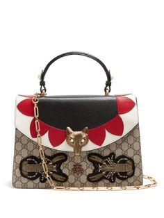 GUCCI   Broche GG Supreme leather shoulder bag