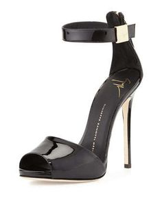 Patent Ankle-Strap Sandal, Black by Giuseppe Zanotti at Neiman Marcus.