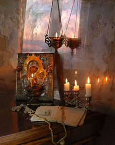 orthodox christianty still life photography on We Heart It Catholic Altar, Roman Catholic, Orthodox Prayers, Orthodox Easter, Prayer Corner, Home Altar, Russian Painting, Orthodox Icons, Blessed Mother