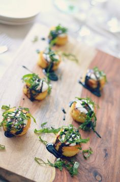 Crispy Polenta Bites with Crème Fraiche, Balsamic Glaze and Fresh Basil - Karista's Kitchen