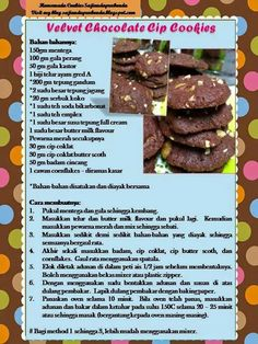 Velvet chocolate chip cookis Cookie Brownies, Home Baking, Dahlias, Bento, Chip Cookies, Tarts, Cookie Recipes, Biscuits, Chips