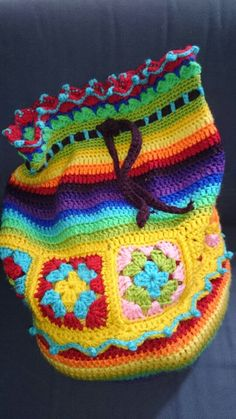 Bag EvaH_DesigN Cute Crochet, Crochet Hooks, Knit Crochet, Crotchet Bags, Knitted Bags, Easy Crochet Stitches, Crochet Squares, Crochet Handbags, Crochet Purses