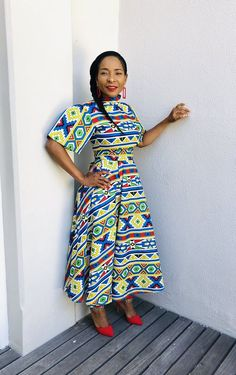 Dazzling South African Traditional Dresses For Women 2019 ShweShwe 1 Latest African Fashion Dresses, African Print Dresses, African Men Fashion, African Dress, African Prints, Xhosa Attire, African Attire, African Wear, African Style