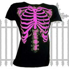 A pink skeleton print on a ladies t shirt. The Pink Skeleton T Shirt in The Gothic Garden.    Made from cotton    Ref : GGABZ602   Price : 11.50 GBP