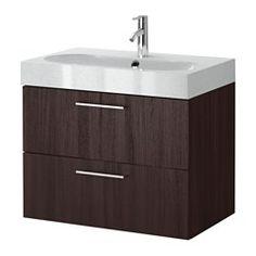 GODMORGON / BRÅVIKEN Sink cabinet with 2 drawers - black-brown/light gray - IKEA