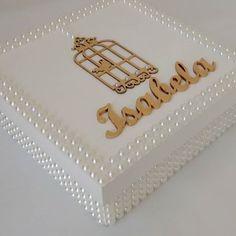Caixinha personalizada | pérolas | branca | artesanato | mdf