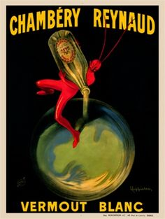 Chambery Reynaud by Cappiello 1909 France - Beautiful Vintage Poster Reproduction. This vertical french wine and spirits poster features a r...