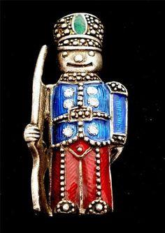 Russian Silver Guilloche Enamel Rhinestone Nutcracker Soldier Vintage Brooch Pin | eBay