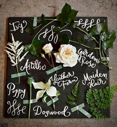 "Our ""deconstructed bouquet"" with calligraphy by Ephemera Press.  Emerald Botanical Beach Wedding Inspiration, styled by Simply by Tamara Nicole, Courtney Bowlden Photography, Bash & Bloom florals"