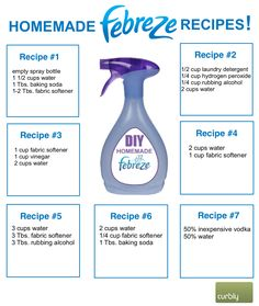 Homemade Febreze Make Homemade Febreze: 7 Different Recipes. (via Curbly)Make Homemade Febreze: 7 Different Recipes. (via Curbly) Homemade Cleaning Supplies, Household Cleaning Tips, Deep Cleaning Tips, Cleaning Recipes, House Cleaning Tips, Natural Cleaning Products, Cleaning Solutions, Cleaning Hacks, Diy Hacks