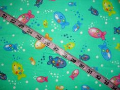 Bubble Fish flannel fabric fishing colorful cotton quilt print quilting sewing cotton material to sew for crafting by the yard #fish, #flannel, #quilt, #sewing, #quilter, #sewer, #sew, #quilting, #fabric, #material - pinned by pin4etsy.com