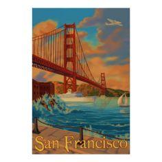 "Golden Gate Bridge - San Francisco, CA Poster. Miss San Fran. It""s a great city. San Francisco Travel, San Francisco California, Puente Golden Gate, Retro Poster, Poster Vintage, Poster Poster, Vintage Signs, Vintage Travel Posters, Illustrations"