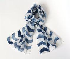 Chevron silk cotton scarf indigo.