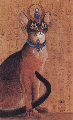 Egyptian Abysinnian Cat with Headdress Print of Original Painting Abyssinian, Bastet Goddess, Egyptian Cat Goddess, Egyptian Cats, Egyptian Mythology, Deities, Egypt Cat, Egyptians, Marsala