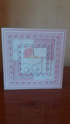 Used Tonic Venetian Lace layering dies and Marianne Designs pram die Baby Girl Cards, New Baby Cards, Handmade Christening Cards, Tonic Cards, Baby Barn, Congratulations Baby, Shabby Chic Cards, Spellbinders Cards, Embossed Cards