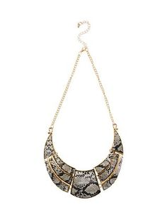 Gold Snakeskin Print Necklace  | New Look
