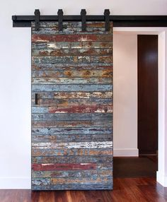 Not your ordinary barn door: Salvaged marine wood from a 40 year old bait barge which was destroyed by a swell in the Pacific Ocean from the 2011 Tsunami that hit Japan. We were lucky to get the remaining pieces to create this one of a kind sliding door! Wooden Sliding Doors, Wood Doors, Wooden Windows, Diy Interior, Interior Barn Doors, Interior Design, French Interior, Scandinavian Interior, Modern Interior