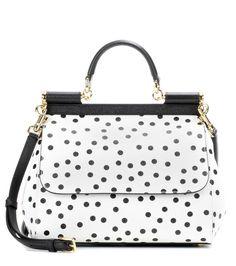 DOLCE  amp  GABBANA Sicily Medium Polka-Dotted Leather Shoulder Bag.   dolcegabbana   · White HandbagShoulder ... 6a89916533d9b
